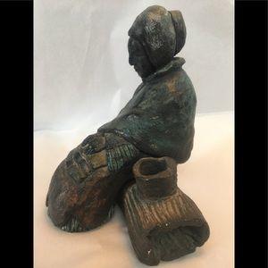 Signed tribal ceramic sculpture native woman art